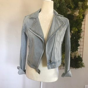 Jackets & Blazers - Light denim moto jacket with studs XS